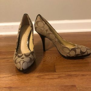 Gently used brown Coach pumps